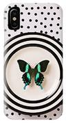 Green And Black Butterfly On Plate IPhone Case