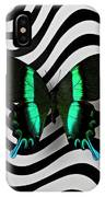 Green And Black Butterfly On Wavey Lines IPhone Case