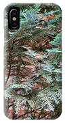 Green And Red - Slender Cypress Branches Over Rough Roman Brick Wall IPhone Case