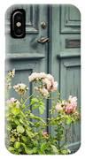 Green Door With Rosebush IPhone Case