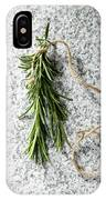 Green Fresh Rosemary On Granite Background IPhone Case