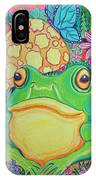 Green Frog With Flowers And Mushrooms IPhone Case