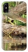 Green Heron Fishing 2 IPhone Case