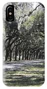 Green Lane With Live Oaks - Black Framing IPhone Case