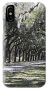 Green Lane With Live Oaks IPhone Case