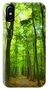 Green Light Harmony - Walking Through The Summer Forest IPhone Case