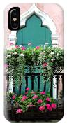 Green Ornate Door With Geraniums IPhone Case