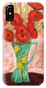 Green Vase And Poppies IPhone Case
