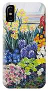Greenhouse Flowers With Blue And Red IPhone Case