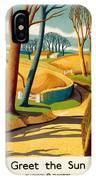 Greet The Sun By London Underground - Metro, Suburban - Retro Travel Poster - Vintage Poster IPhone Case