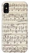 Handwritten Score For Waltz For Piano, Opus 39 IPhone Case