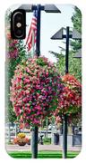 Hanging Flower Baskets In A Park IPhone Case