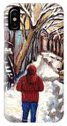 Winter Walk After The Snowfall Best Montreal Street Scenes Paintings Canadian Artist Paysage Quebec IPhone Case