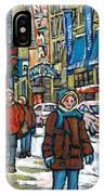 Achetez Les Meilleurs Scenes De Rue Montreal Best Original Art For Sale Montreal Streets Paintings IPhone Case