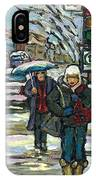 Best Canadian Winter Scene Paintings Original Montreal Art Achetez Scenes De Quebec Cspandau IPhone Case