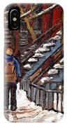 Canadian Art Winter Streets Original Paintings Verdun Montreal Quebec Scenes Achetez Les Meilleurs IPhone Case