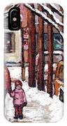 Canadian Winter Scene Paintings Original Art Verdun Montreal Achetez Scenes De Rue Quebec C Spandau  IPhone Case