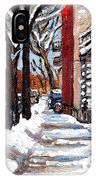 Canadian Winter Scene Paintings Original Art Verdun Montreal Achetez  Paysages De Quebec C Spandau IPhone Case