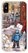 Original Montreal Street Scene Paintings For Sale Winter Walk After The Snowfall Best Canadian Art IPhone Case