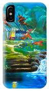 Hawaiian Hut And Waterfalls IPhone Case