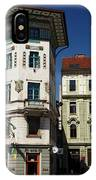 Historic Art Nouveau Buildings At Preseren Square White Tiled Ha IPhone Case