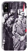 Hitler With Nazi Entourage Hess And Himmler In 2nd Row Circa 1935 Color Added 2016 IPhone Case