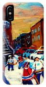 Hockey Paintings Of Montreal St Urbain Street City Scenes IPhone Case