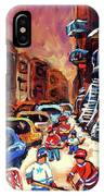 Hockey Paintings Of Montreal St Urbain Street Winterscene IPhone Case