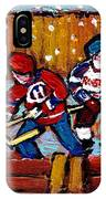 Hockey Rink Paintings New York Rangers Vs Habs Original Six Teams Hockey Winter Scene Carole Spandau IPhone Case