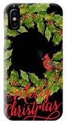 Holly Christmas Wreath And Cardinal IPhone Case