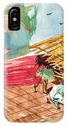 A Back Yard With A Cow Shade And A Cow And A Calf  IPhone Case