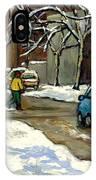 Original Canadian Art For Sale Scenes D'hiver Ville De Montreal Apres La Tempete Montreal Scenes IPhone Case
