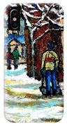 Buy Original Paintings Montreal Petits Formats A Vendre Scenes Man Shovelling Snow Winter Stairs IPhone Case
