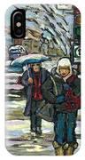 Rue Cote St Catherine Peintures Petit Format A Vendre Scenes De Ville Montreal Street Scenes  IPhone Case