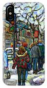 Promenade Au Centre Ville Rue Ste Catherine Montreal Winter Street Scene Small Paintings  For Sale IPhone Case