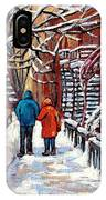 Promenade En Hiver Winter Walk Scenes D'hiver Montreal Street Scene In Winter IPhone Case