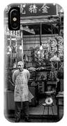 Hong Kong Foodmarket In Black And White, China IPhone Case