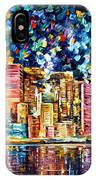 Hong Kong - Palette Knife Oil Painting On Canvas By Leonid Afremov IPhone Case