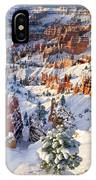 Hoodoos And Fir Tree In Winter Bryce Canyon Np Utah IPhone Case