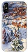Hoodoos And Fir Tree In Winter Bryce Canyon Np Utah IPhone Case