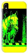 Horse Painting Jumper No Faults Green And Yellow IPhone Case