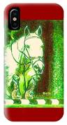 Horse Painting Jumper No Faults Green With Reds IPhone Case