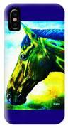 horse portrait PRINCETON vibrant yellow and blue IPhone Case