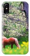 Horse Running In Spring Woods IPhone Case