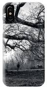 Horses On A Foggy Morning In Black And White IPhone Case