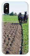 Horses Plowing Rows  IPhone Case