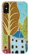 Houses Trees Birds Painting By Karla G IPhone Case