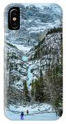 Ice Climbers Approaching Professor Falls Rated Wi4 In Banff Nati IPhone Case