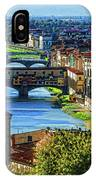 Impressions Of Florence - Long Blue Shadows On The Arno River IPhone Case