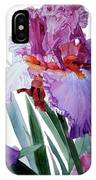 Watercolor Of A Tall Bearded Iris In Pink, Lilac And Red I Call Iris Pavarotti IPhone Case